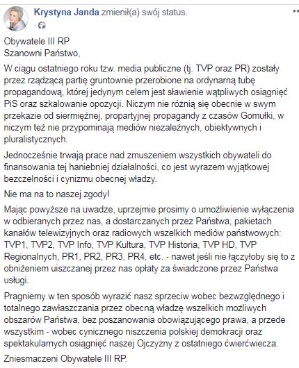 Janda otwarcie uderza w TVP! Internauci są zachwyceni, jej apel podbił Facebooka!